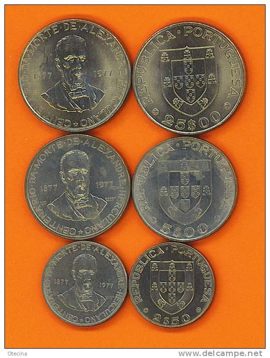 "# PORTUGAL 3 Pieces (2$5; 5$ Et 25$) ""Alexandre Herculano"" 1977 - Portugal"
