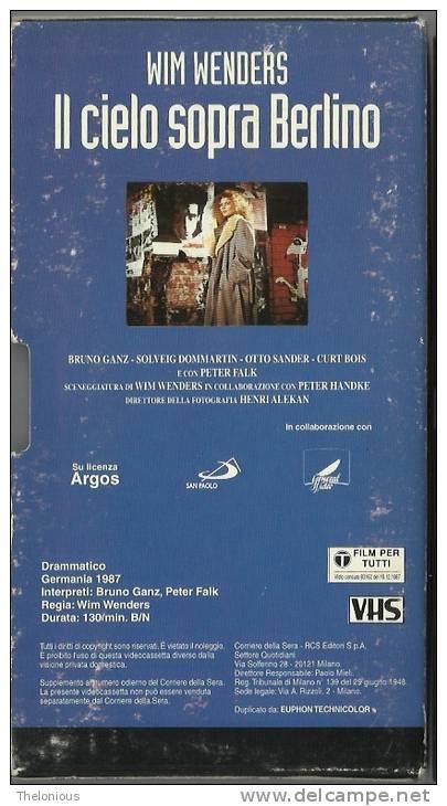 VHS - Il Cielo Sopra Berlino - Con Bruno Ganz, Peter Falk Ecc. Regia Di Wim Wenders, 1987 - Dramma
