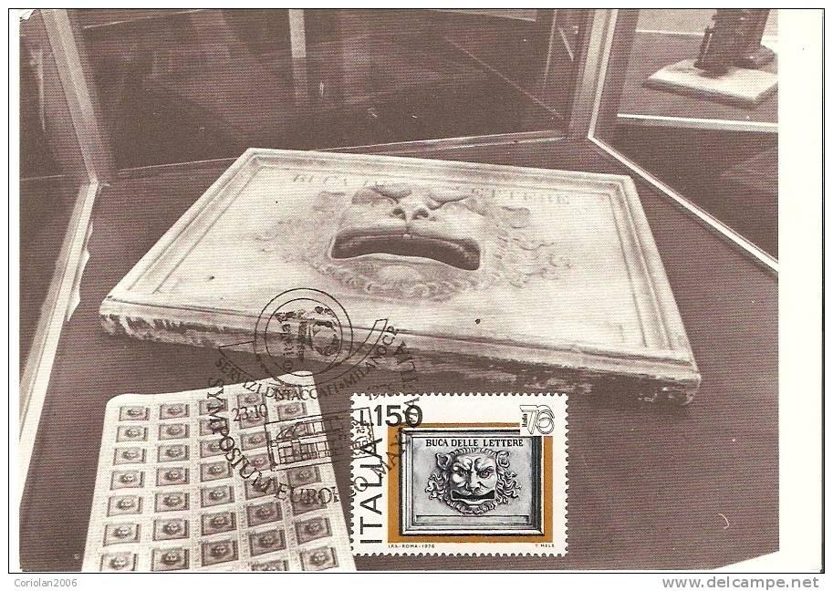 Italia / Maxi Card / Targa Marmorea Con Mascherone Usata Come Buca D'impostazione  Nel Sec XIX - Post