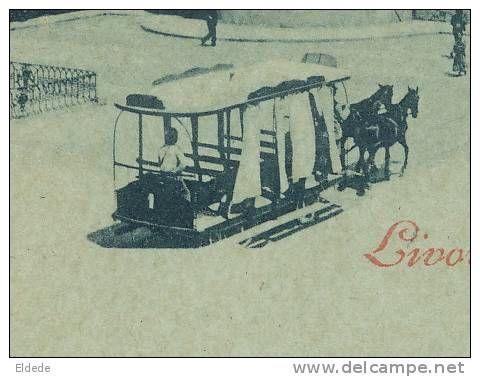 Livorno Livourne Piazza Guernazzi Tram A Cheval Horse Tram Tramway Bleu A La Lune - Livorno