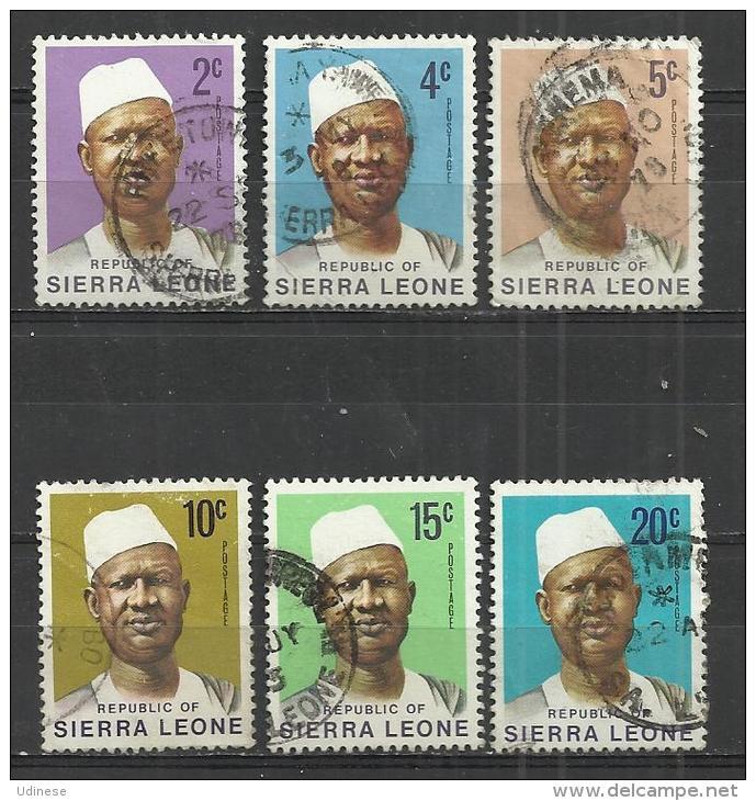 SIERRA LEONE 1973 - PRESIDENT STEVENS - 6 DIFFERENT - USED OBLITERE GESTEMPELT USADO - Sierra Leone (1961-...)