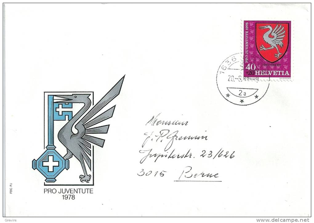 Pro Juventute 1978, écussons De Gruyères, Lettre Circulée, De Broc - Lettres & Documents