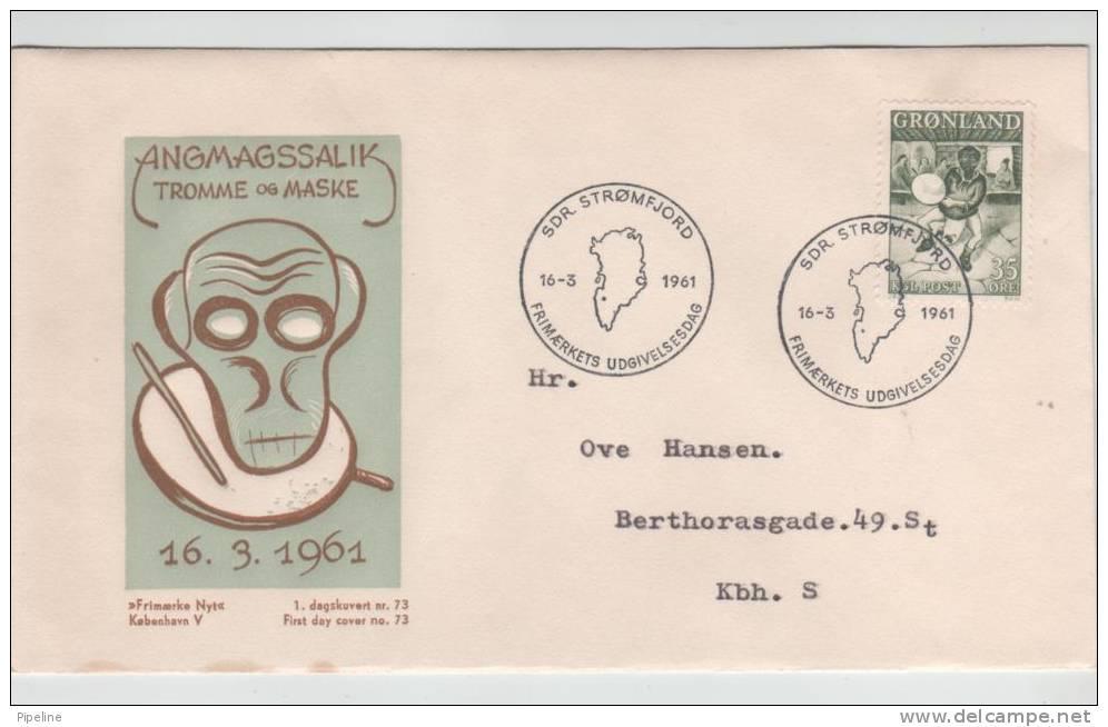 Greenland FDC 16-3-1961 DRUMDANCER With Cachet Sent To Denmark - Grönland