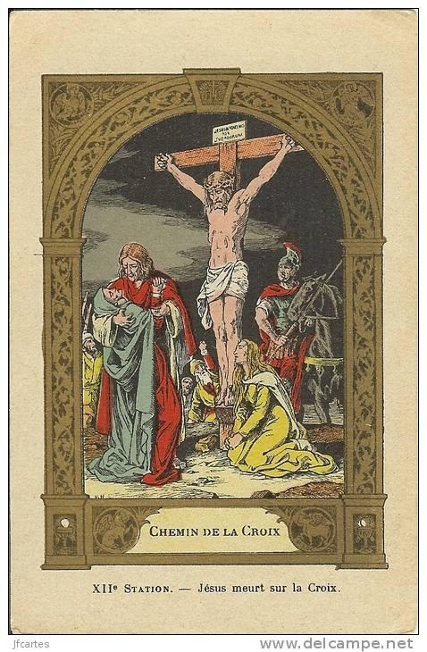 """Th - Chemin De La Croix - Dos Publicité Pour """"L'express Teinture"""" - Jesus"""
