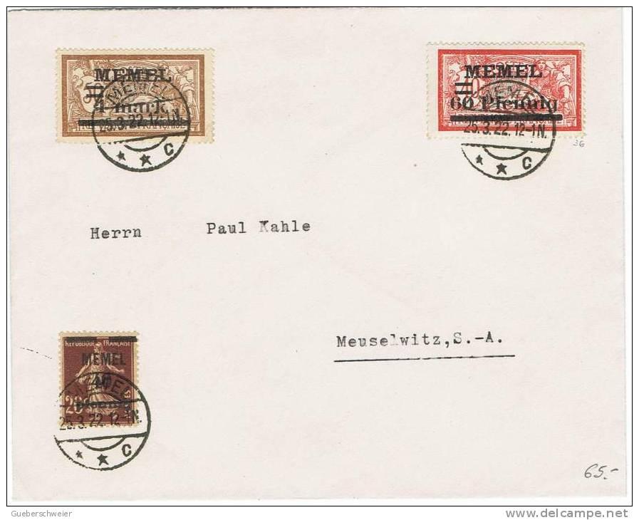 MEM 3 - Très Belle Lettre Du MEMEL Avec Merson Et Semeuse N° 22-26-34 - Covers & Documents