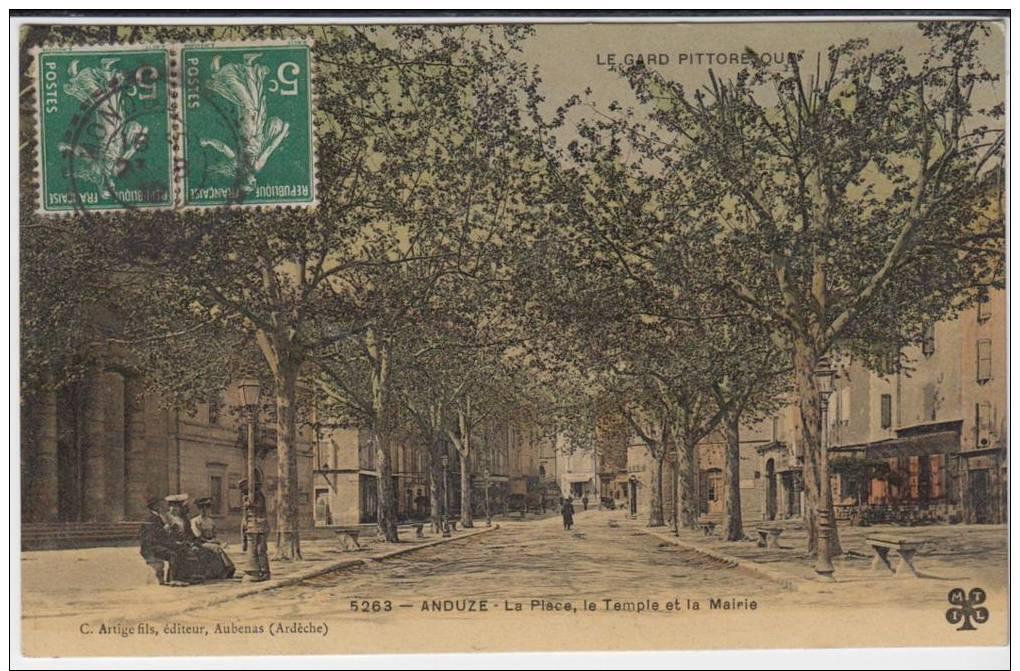 Anduze La Place Le Temple La Mairie - Anduze