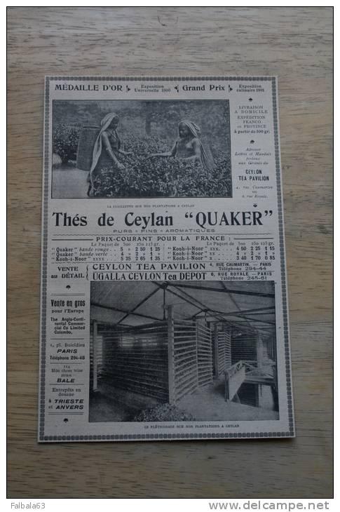 PUB 1901 Thé De CEYLAN Récolte Séchage - Reclame