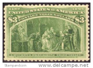 US #243 XF Mint Hinged $3 Columbian From 1893 W/PF Certificate - Unused Stamps