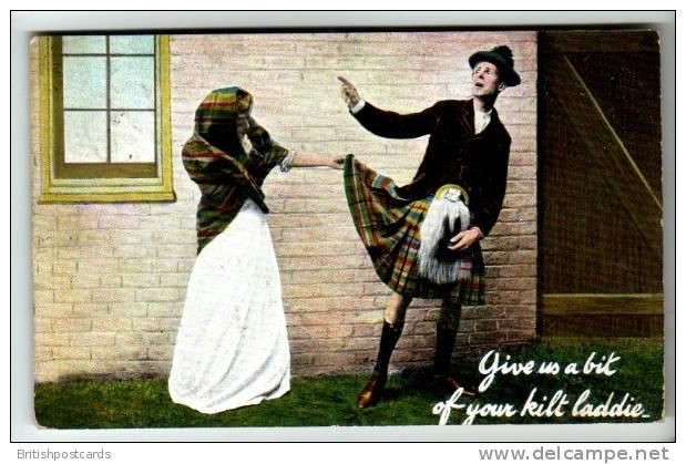 Comic - Give Us A Bit Of Your Kilt Laddie - Postcard 1910 - Humour