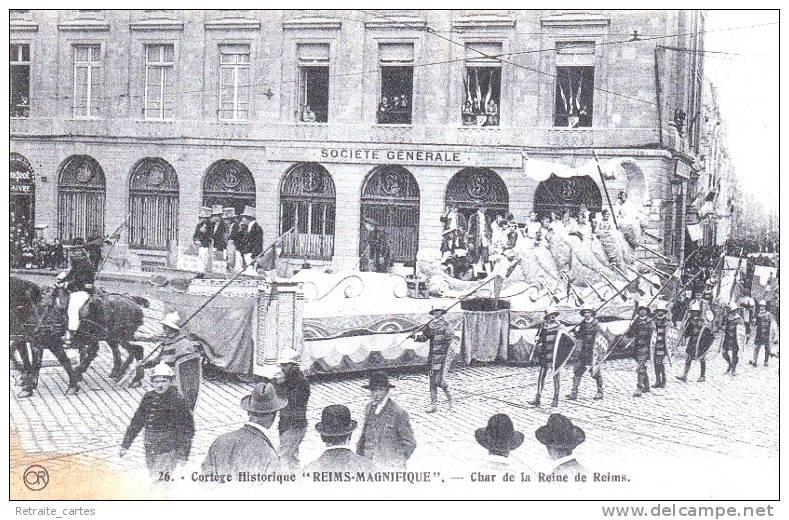 REIMS - Défilé Du Char De La Reine De Reims Devant La Société Générale - Très Beau Plan Animé - Reims