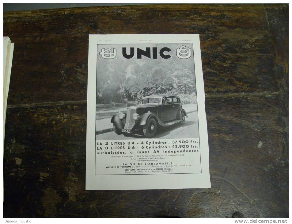 PUBLICITE AUTOMOBILE  UNIC       Issue D´une Ancienne Revue De L´ILLUSTRATION  Années 1925-1935 - Plaques Publicitaires