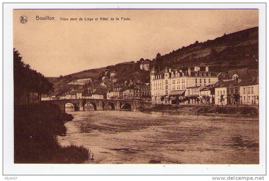 CPA:  BOUILLON  (belgique):   Vieux Pont De Liège Et Hôtel De La Poste.   (NELS)    (5077) - Bouillon
