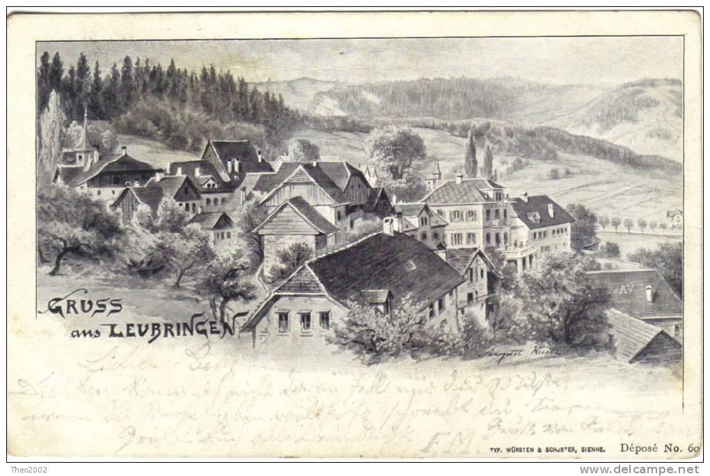 Karte Gruss Aus Leubringen Bern Biel. Cachet Evilard 1901 - BE Bern