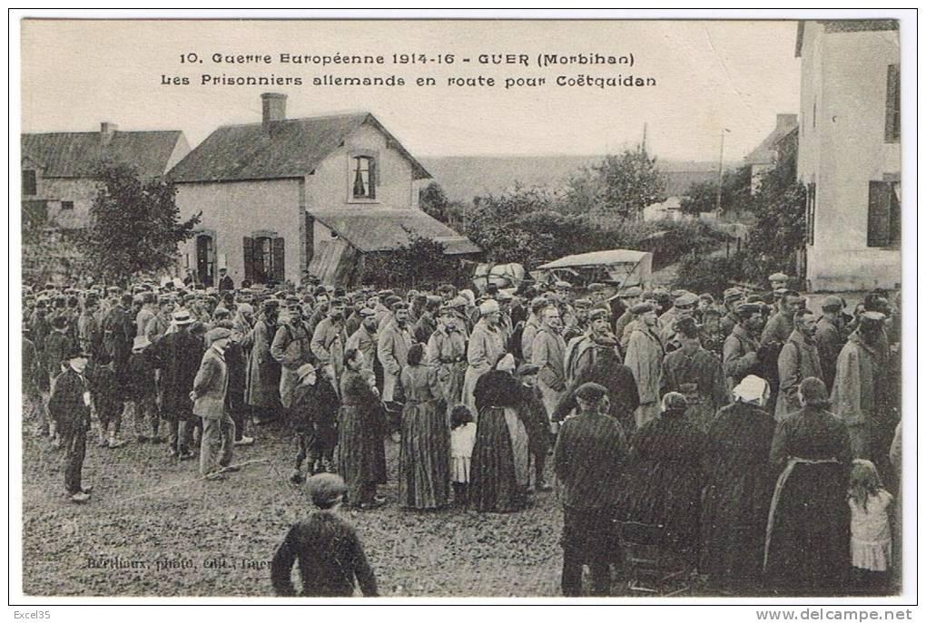 RARE CPA 1916 - Prisoniers Allemands En Route Pour COETQUIDAN - Berthaux Photo-éditeur à GUER N° 10 - - Guer Coetquidan