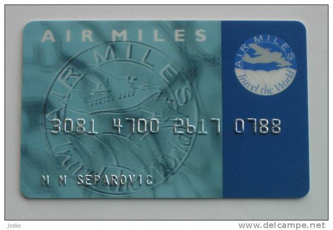 AIR MILES  - Travel The World  ( Member Card On Name ) * Carte Tarjetas Carta Scheda ( Plane , Avion ) - Other Collections