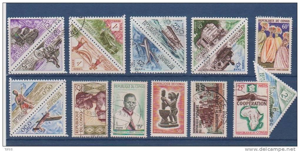 Afrique Congo Lot De 17 Timbres - Congo - Brazzaville