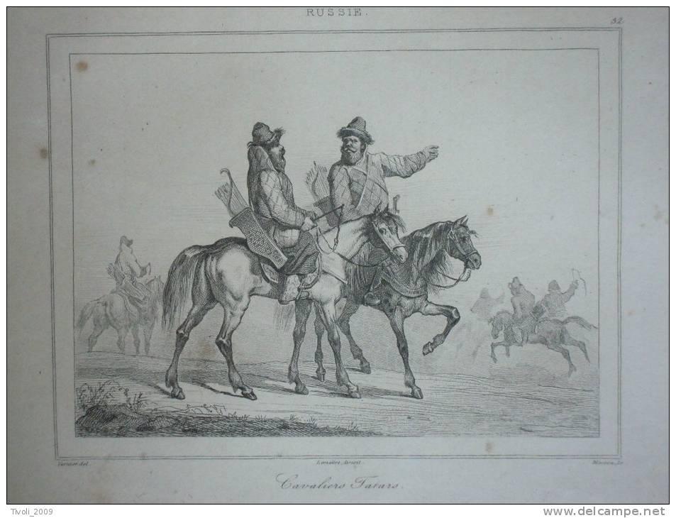 Gravure Russie Russia Cavaliers Tartars - Prints & Engravings