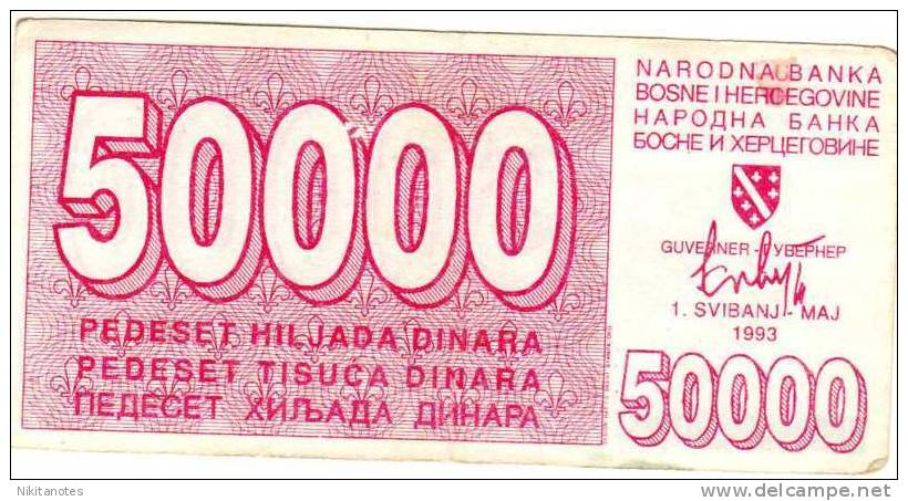 Bosnia & Herzegovina, 50000 DINARA 1993 Bon - Bosnië En Herzegovina