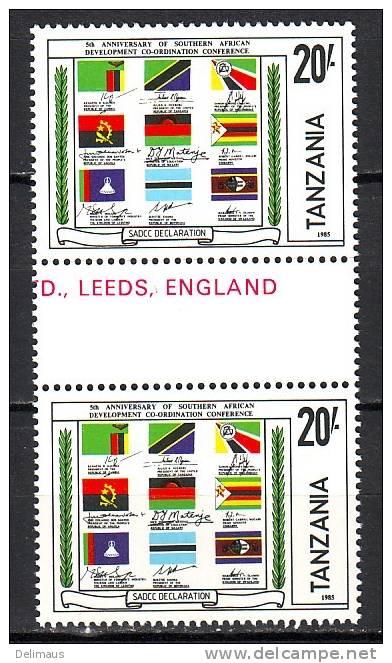Tansania 257 ** Postfrisch Paar Mit Leerfeld Flaggen Und Unterschriften Südl. Afrika SADCC - Stamps