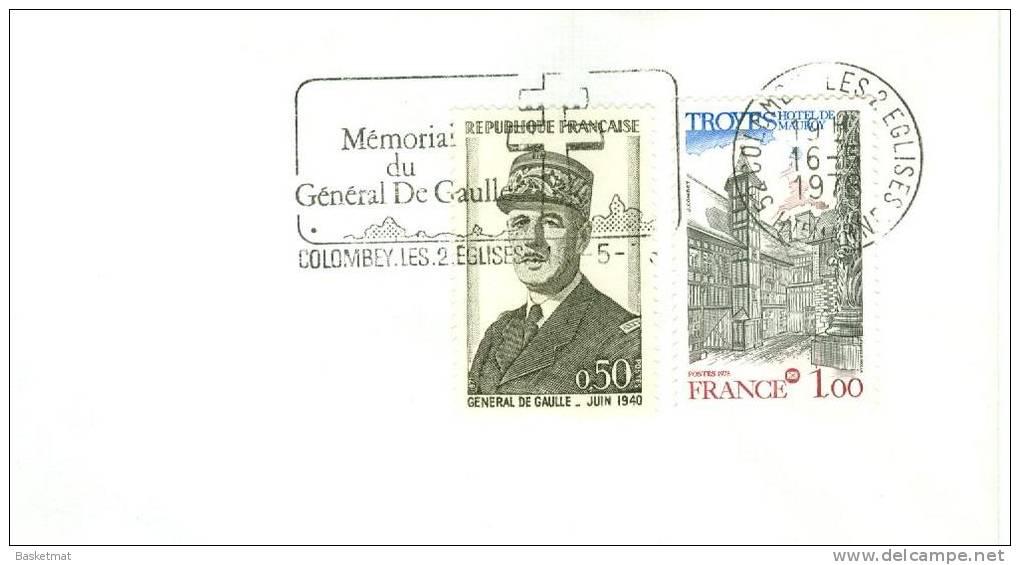 FRANCE ENV  DE GAULLE  FLAMME MEMORIAL DU FENERAL  COLOMBEY  16/5/1978 - De Gaulle (Generaal)