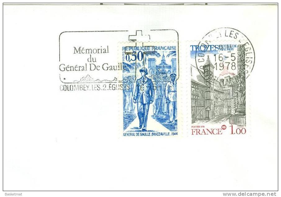FRANCE ENV  DE GAULLE  FLAMME MEMORIAL DU FENERAL  COLOMBEY  16/5/1978 - De Gaulle (General)