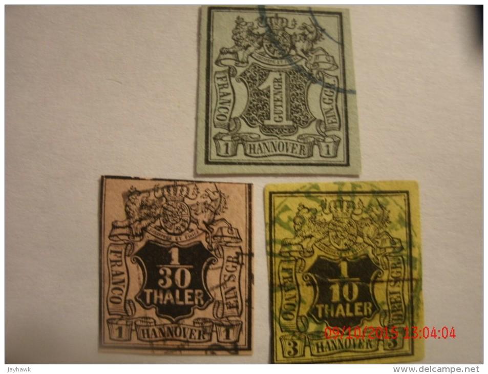 HANOVER, SCOTT# 2, 1g, #3, 1/30g &# 6, 1/10g,  USED - Hanover