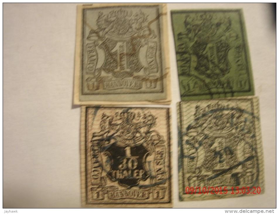 HANOVER, SCOTT# 1,1g Black On Gray Blue(2 Each),#11, & #12, 1/30g Black On Rose, USED - Hanover