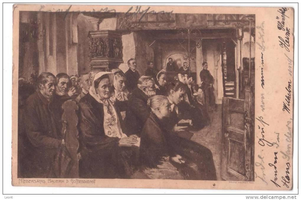Germany - Franz Hecker - Niedersachs Bauern D. Gottesdienst - 1905 - Malerei & Gemälde
