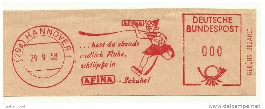 Germany Nice Cut Meter AFINA Schuhe Shoe, Hannover 29-9-1958  Test - Textil
