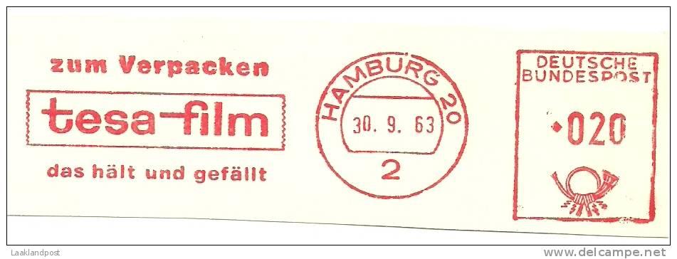 Germany Nice Cut Meter TESA-FILM, Zum Verpacken Das Halt Und Gefalt, Hamburg 30-9-1963 - Chimie