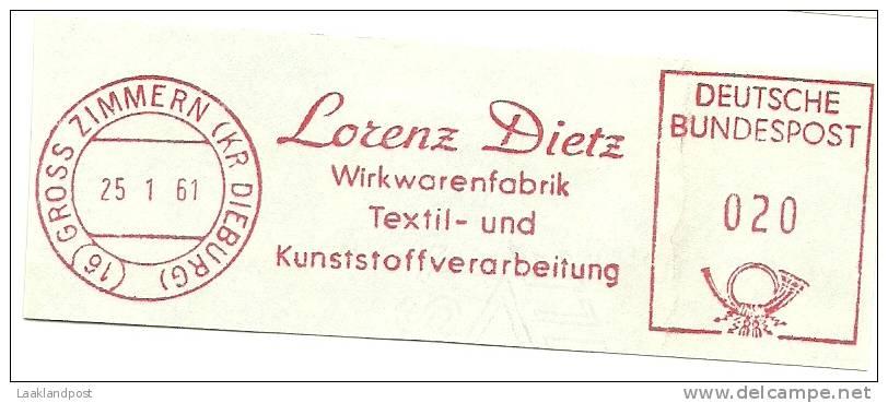 Germany Nice Cut Meter Lorenz Dietz, Wirkwarenfabrik Textil- Und Kunststoffverarbeitung, Gross Zimmern 25-1-1961 - Textiel