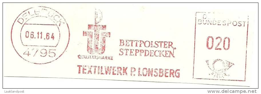 Germany Nice Cut Meter Bettpolster Steppdecken Textielwerk P. Lonsberg, Delbruck 6-11-1964 - Textiel