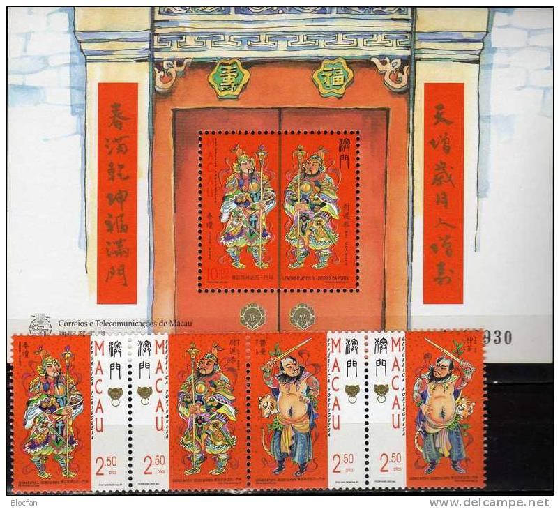Mythen Türgötter 1997 Macao 919/2 Als ZD+Block 46 ** 9€ Berühmte Legenden Chinesen Chon Keng Wat Chi Kong Sheet Of MACAU - Astrology