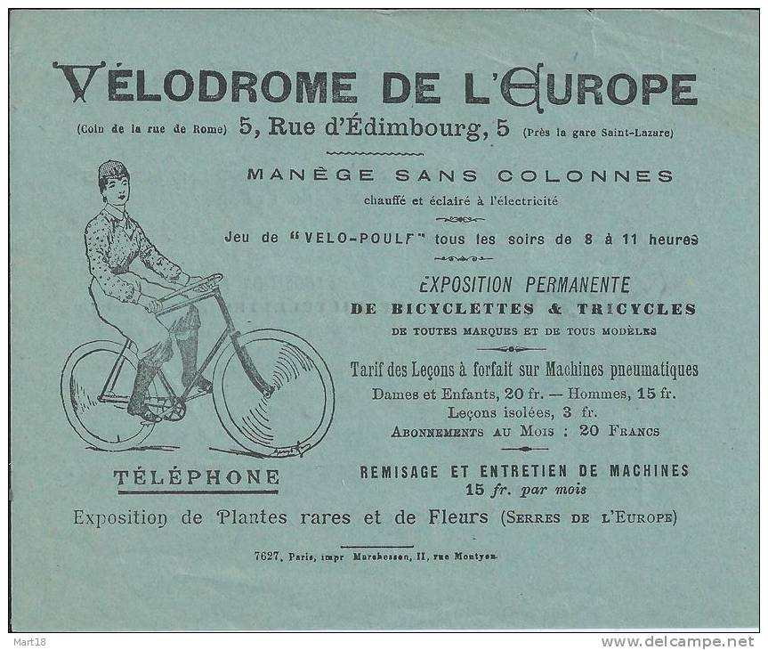 CYCLE VELODROME De L' EUROPE - COURS De VELO - An 1900 - Cyclisme