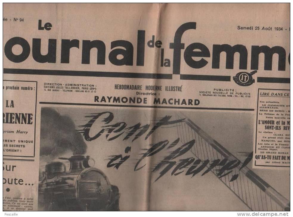 JOURNAL DE LA FEMME 25 08 1934 MAX COSYNS - LEON LEMONNIER - YVONNE REGNAULT MAGNY - POLOGNE - CINEMA CLARA BOW - LAPINS - Unclassified