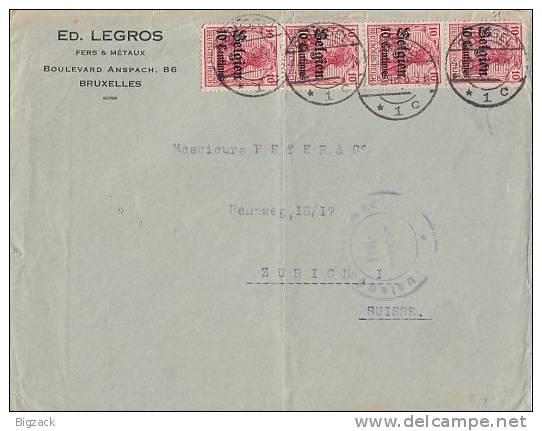 Dt. Post Belgien Brief Mef Minr.4x 3 Brüssel 29.2.16 Gel. In Schweiz Zensur - Besetzungen 1914-18
