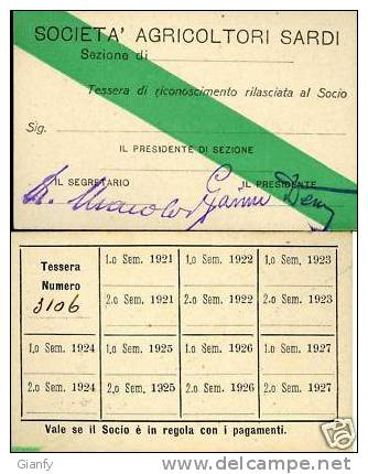 SARDEGNA TESSERA AGRICOLTORI SARDI 1921 - Documenti Storici