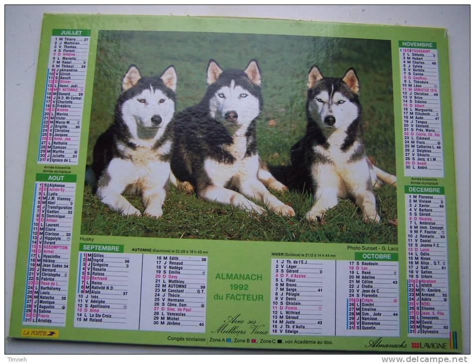 Almanach Du Facteur 1992 - HUSKY - BERGER ALLEMAND - VOSGES  N°88 - LAVIGNE - LA POSTE - Formato Piccolo : 1991-00