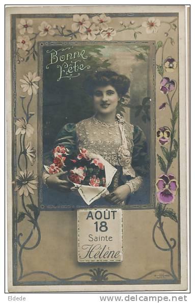 Ste Helene 18 Aout Carte Art Nouveau Belle Femme - Sant'Elena