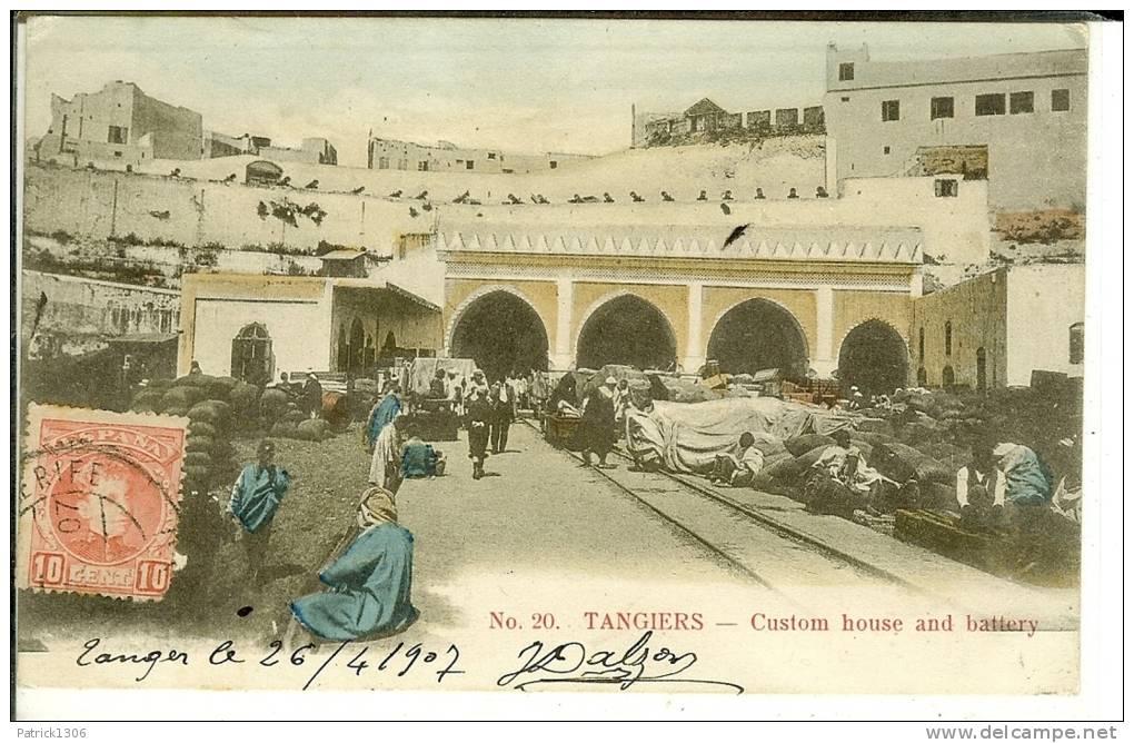 CPA  TANGER, Bureau De Douane Et Batterie, Custom Home And Battery 0083 - Tanger