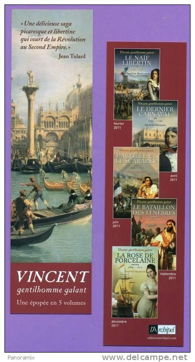 """Archipel   Arlette  Aguillon   """"  Vincent  Gentilhomme  En  5  Volumes  """"   5 X 19 Cm - Marque-Pages"""