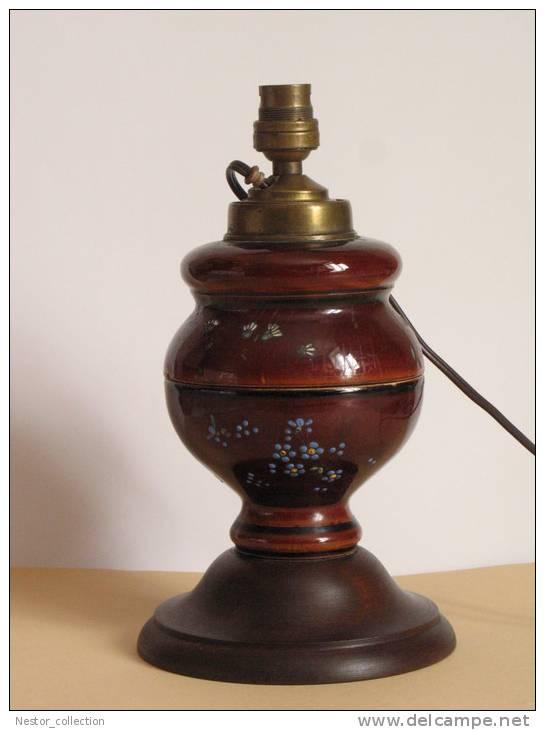 lampe ptrole porcelaine ancienne lectrifie pied en bois rare motif fleurs lamps - Lampe Sur Pied Fleur