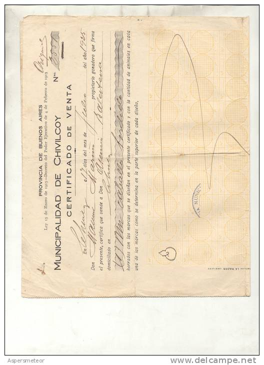 GUIA DE GANADO DEL AÑO 1925 MUNICIPALIDAD CHIVILCOY ORIGINAL, AUTHENTIC, AUTHENTIQUE, AUTENTICA  OHLE - Documents Historiques