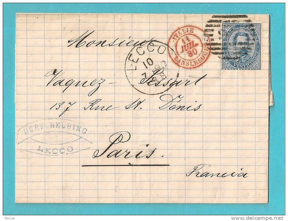 25 CENTESIMI UMBERTO I SU LETTERA DA LECCO VIA LANSLEBOURG PER PARIGI DEL 10/LUGLIO/1880 - 1878-00 Umberto I