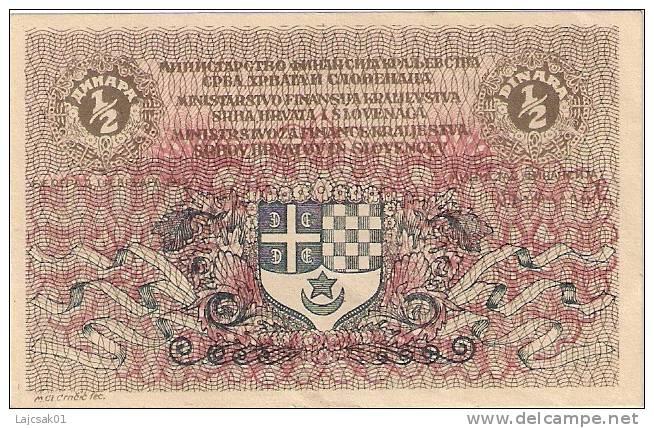 Yugoslavia Kingdom SHS  1/2 Dinara Dinars   1919. P-11a  AUNC - Jugoslawien