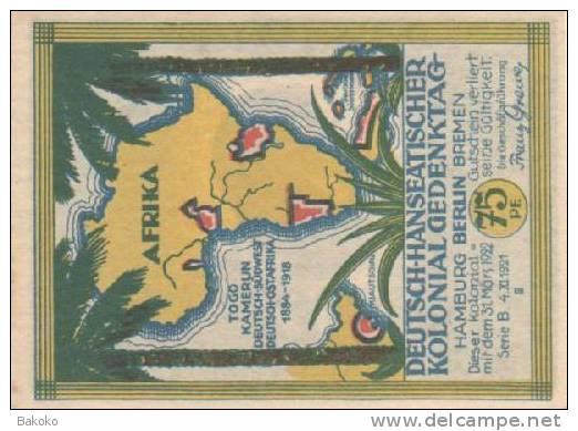 Cameroun - 75 Pfennig 31/3/1922 - Dr Carl Peters - Aunc - Camerun
