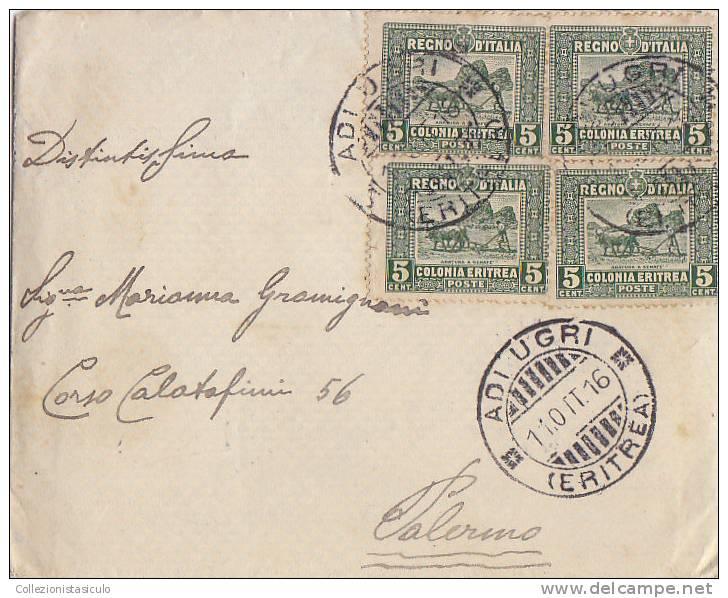 D5- Colonia Eritrea - 5 Cent. Pittorica X 4 Su Lettera Da Adi Ugri 11/10/1916 A Palermo - Eritrea