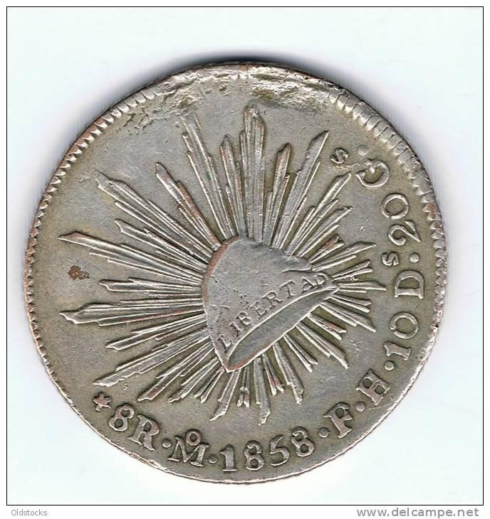 REPUBLICA MEXICANA 8 REAL  1858 ( F.H. 10D. 20G) - Mexique