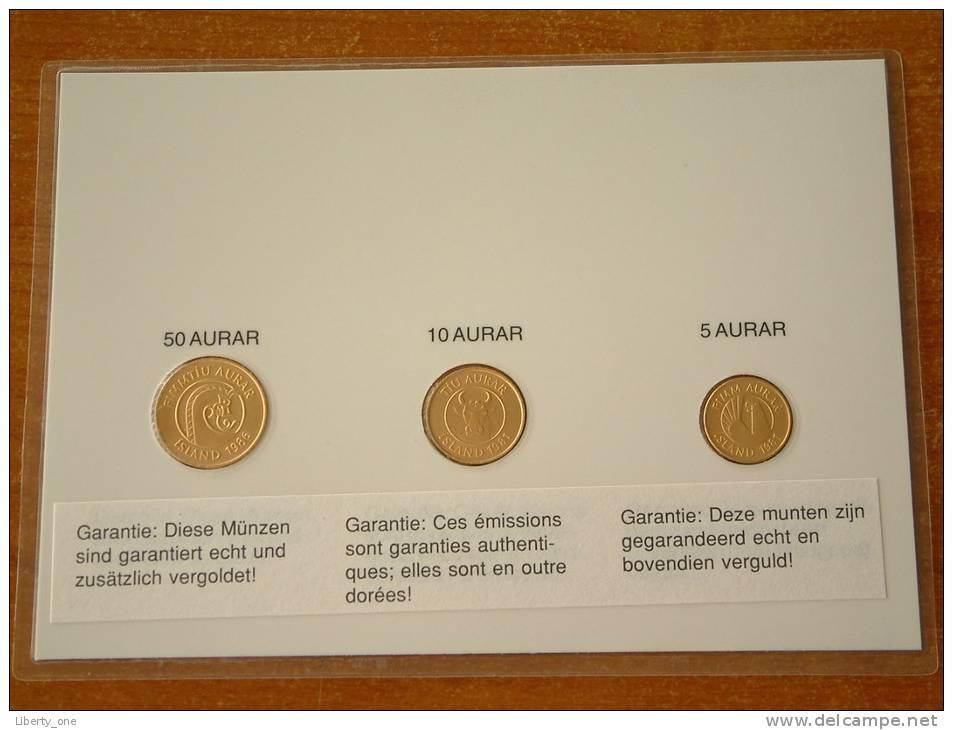 5 & 10 Aurar 1981 - 50 Aurar 1986 / Real Coins Gold Plated - Verguld - Doré ( For Grade, See Photo ) ! - Iceland