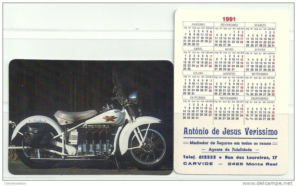 1991 Pocket Poche Bolsillo Calender Calandrier Calendario  Motorbikes Motorcycles Motos  Collection Of  2 - Calendars